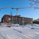 10.02.2021: Zum Zeitpunkt der Aufnahme wurde die vierte Etage (Teilgeschoss) errichtet.
